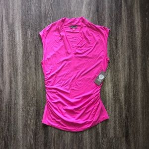 VINCE CAMUTO Ruched Sleeveless Top Womens L Large